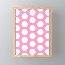 White circles on pink Framed Mini Art Print