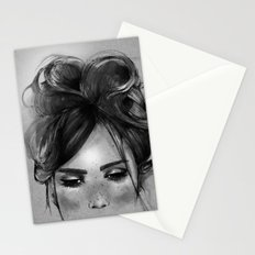 Sweet freckles girl face Stationery Cards