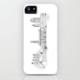 Kansas City Skyline Illustration Black Line Art iPhone Case