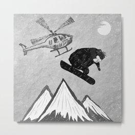 Bad Bear Snowboarder Metal Print