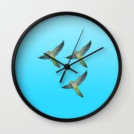 Flying parakeets Wall Clock