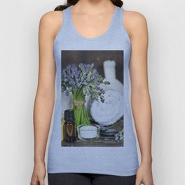 Fresh  lavender flowers, zen stones, essential oil, candle and towel over wooden surface Unisex Tank Top