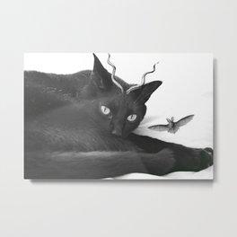 A Cat Prince Observes His Winged Bat Metal Print