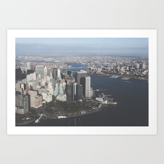 NYC Downtown Aerial Art Print
