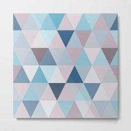 Mauve Blue Triangles Metal Print