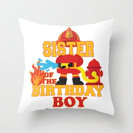 Sister Of The Birthday Boy Firetruck Firefighter Party product Throw Pillow