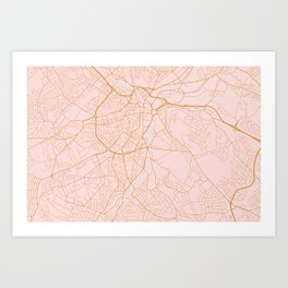 Sheffield map, England Art Print