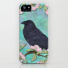 Raven and Apple Blossom iPhone Case