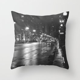 Rainy Night in Chicago Throw Pillow