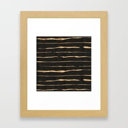 Black and rose-gold abstract stripes Framed Art Print