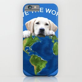 Save the world - Golden retriever and typography iPhone Case