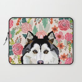 Husky floral pet portrait art print and dog gifts Laptop Sleeve