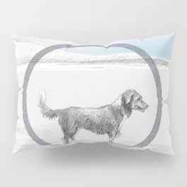 dog wading in fjord Pillow Sham