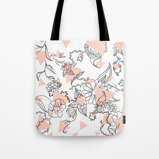 Modern hand drawn floral black illustration abstract blush pink geometric triangles Tote Bag