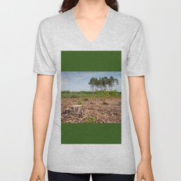 Woods logging one stump after deforestation Unisex V-Neck