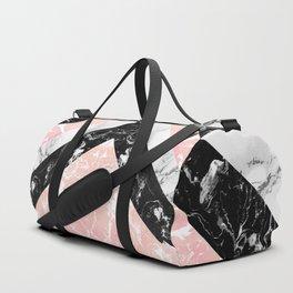 Modern black white pastel pink marble color block stripes Duffle Bag