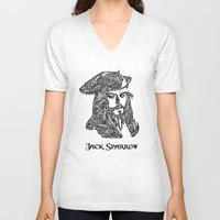 jack sparrow V-neck T-shirts featuring Captain Jack Sparrow by christoph_loves_drawing