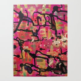 abstract gold and pink Poster
