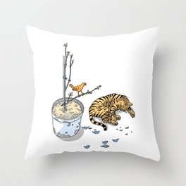 Sleeping cat and singing bird - Animal Lover - Nature -  Tranquility Throw Pillow