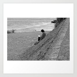 Woman Reading on Hill in France - Black and White Art Print