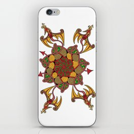 Celtic Knot Dragon, red, gold, green iPhone Skin