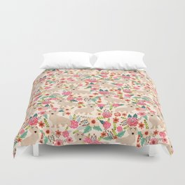 Doxie Florals - vintage doxie and florals gift gifts for dog lovers, dachshund decor, cream doxie Duvet Cover
