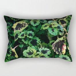 Green Leaf Flowers Rectangular Pillow
