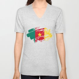 Cameroon Flag Tee Unisex V-Neck