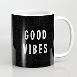 Grungy Distressed Ink Good Vibes | White on Black Coffee Mug