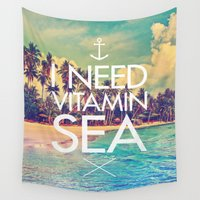 biggie Wall Tapestries featuring I Need Vitamin Sea by Text Guy