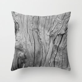Wood Grain in Black and White Throw Pillow