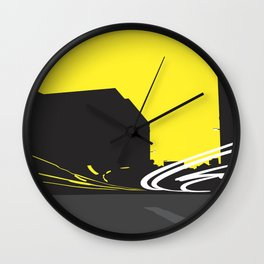 Yellow light trails Wall Clock