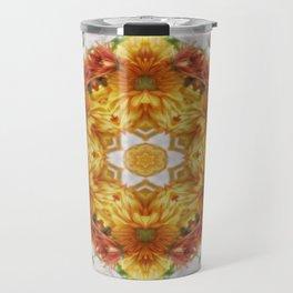 Gold Chrysanthemum Kaleidoscope Art 2 Travel Mug