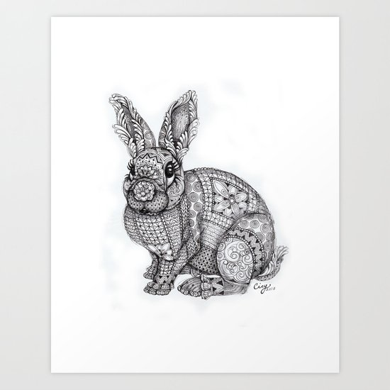 """Blush Bunny"" Art Print"