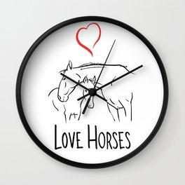 Love horses-Line art-Animal Wall Clock