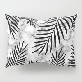 Black palm leaves on marble Pillow Sham