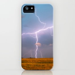 Electric Sky - Lightning Spans Entire Sky in Southern Oklahoma iPhone Case