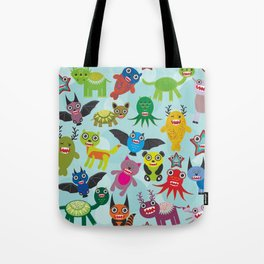Cute cartoon Monsters seamless pattern on blue background Tote Bag