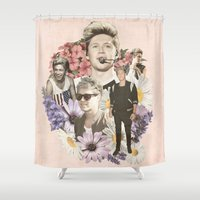 niall horan Shower Curtains featuring Niall Horan + Flowers by Ladsandstuff