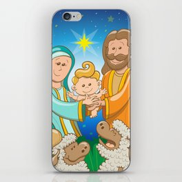 Sweet scene of the nativity of baby Jesus iPhone Skin