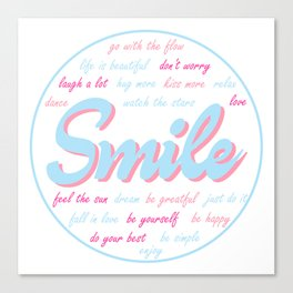 Smile, inspiration sticker, cute sticker, baby colors Canvas Print