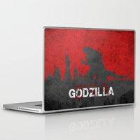 godzilla Laptop & iPad Skins featuring Godzilla by WatercolorGirlArt