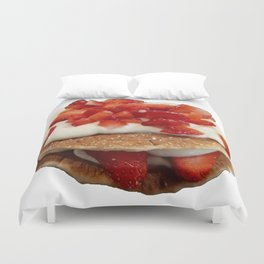 pancakes_strawberries_and_whip_cream Duvet Cover