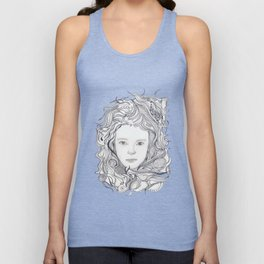 girl - curly doodle hair Unisex Tank Top