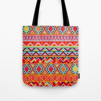 india Tote Bags featuring India Style Pattern (Multicolor) by Diego Tirigall