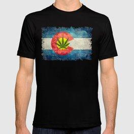Colorado flag with leaf - Marijuana leaf that is! T-shirt