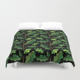 Forest green lime black watercolor oak leaves Duvet Cover
