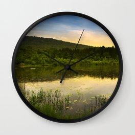 Aqua Sunset Landscape Wall Clock