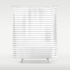White Black Lines Minimalist Shower Curtain