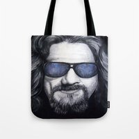 lebowski Tote Bags featuring The Dude Lebowski by Black Neon